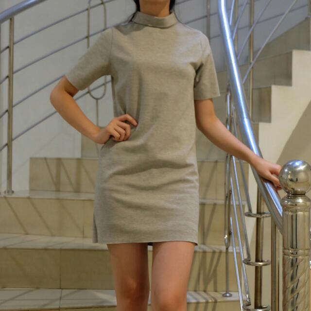 New Turtle Neck Dress In gray