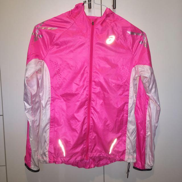 Pink And White Asics Windbreaker