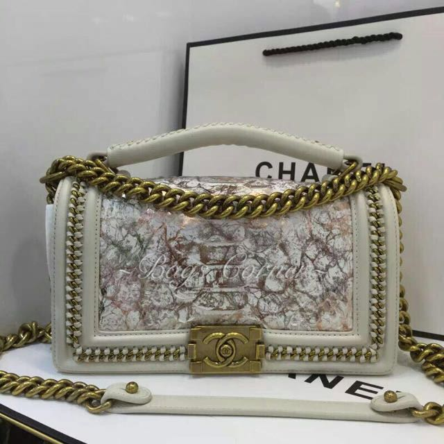 02cafe38 Pre-Order Chanel Boy Top Handle With Snake Skin
