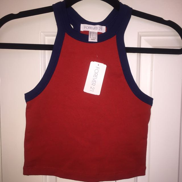 Red/Blue Forever 21 Crop Top