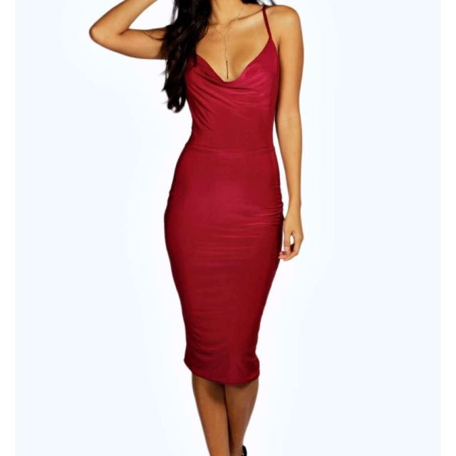 Silky Strap Cowl Front Red Dress