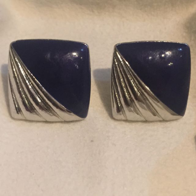 Silver And Navy Blue Stud Earrings