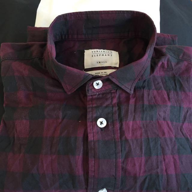 Vanishing Elephant Long Sleeve Shirt 100% Cotton Size Small