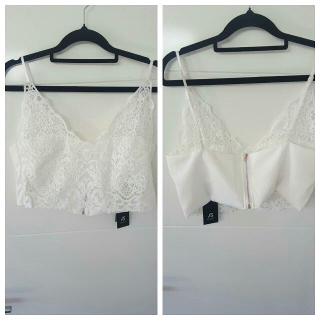 White Lace Bralette Crop Sze 12/14