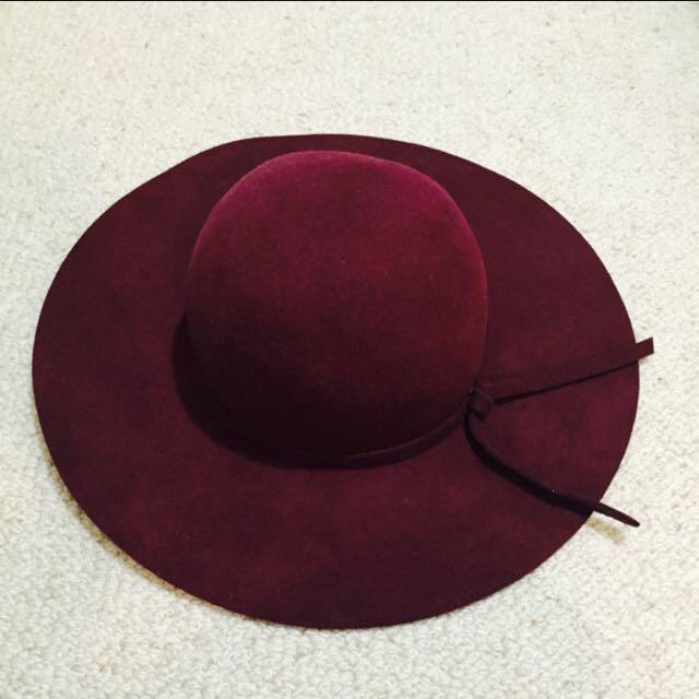 Wine Colour Floppy Hat