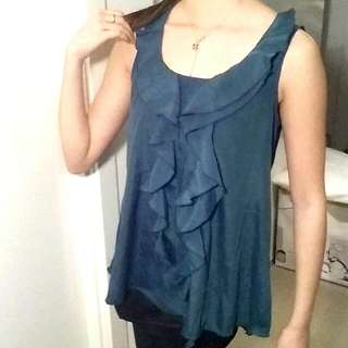 Dark Green/blue Flow Sleeveless Blouse