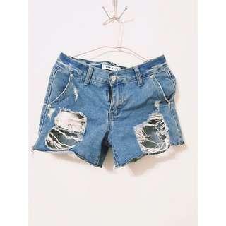 藍色刷破短褲