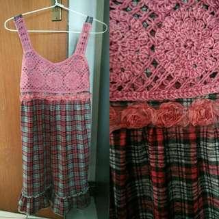Crochet Tartan Dress