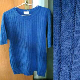 Blue Braided Knit Top