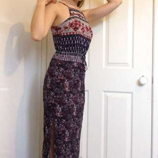 Boho/ Floral Maxi Dress With Slit