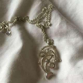 Silver Dolphin Necklace Cubic Zirconia