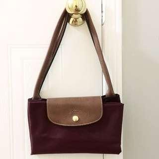 Burgundy Longchamp Medium Shoulder Bag(authentic)