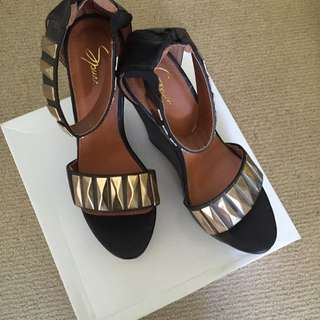 Black Gold Studded Wedges, Fairly High , Size Women's 10 , Fits Big