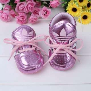 Metallic Pink Lace Up Adidas Shoes 💖
