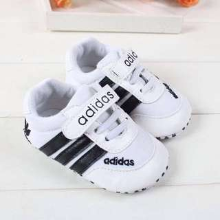 White And Black Velcro Adidas Shoes