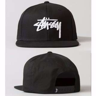 Instock Stussy Stock Black with White Stock Wordings Cap Hat Caps Hats with Adjustable Strap