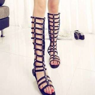 INSTOCK Black Caged Gladiators Sandals