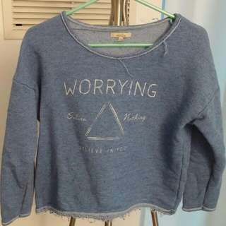 Zara Trafaluc Blue Cropped Sweatshirt Small
