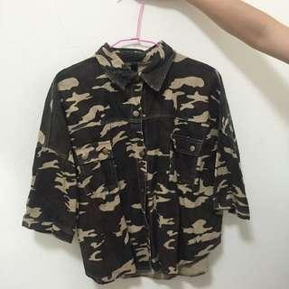 韓版迷彩落肩圓弧襯衫夾克