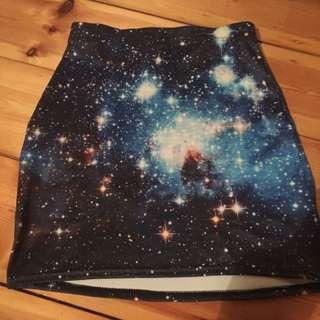 Black Milk Blue Galaxy Skirt Size S