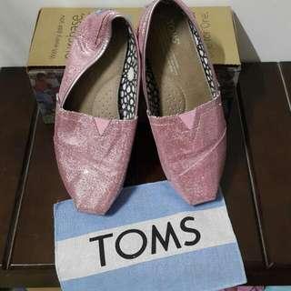 TOMS粉色亮片鞋