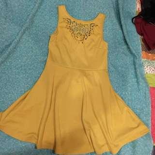 Mustard Cut Out Dress