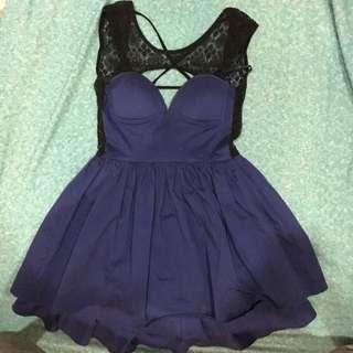 Navy Lace Layered Dress