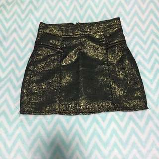 Black And Gold Mini Skirt