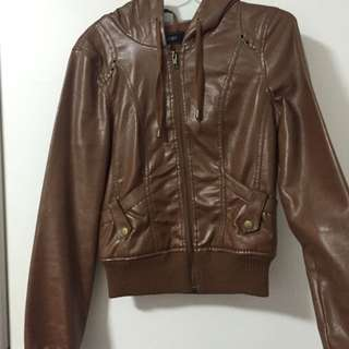 JayJays Faux Leather Jacket With Hoodie