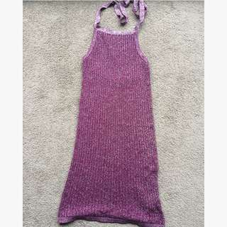 Asos Purple Sparkle Halter Neck Dress