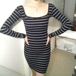*NEW black&grey Stripes Long Sleeve Dress