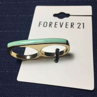 Forever 21 雙指戒 粉綠 S/M