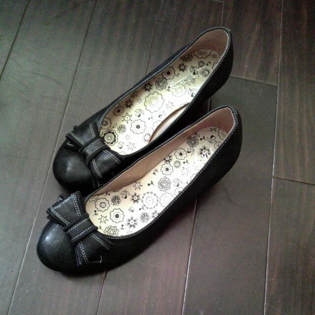 全新24.5蝴蝶結淑女上班楔形跟鞋