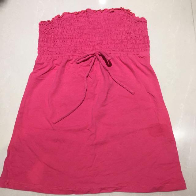 桃紅平口棉質上衣