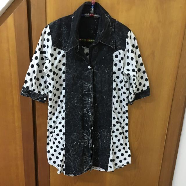 復古黑點五分袖襯衫