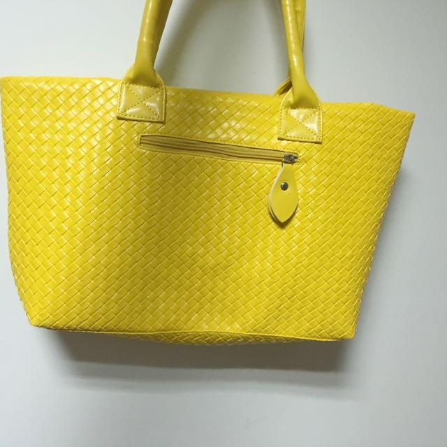 亮黃 黃色 手提 肩背 包包