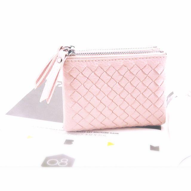 [粉色單只] 粉紅 皮夾 短夾 編織 多口 拉鍊 零錢包