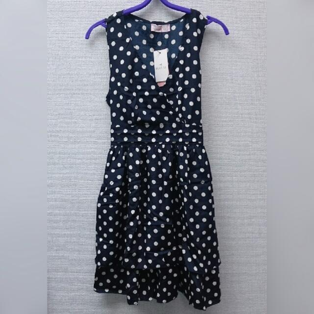 全新轉賣 東京著衣 深藍色交叉V領無袖點點綁帶洋裝