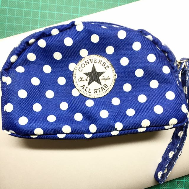 ALL STAR Converse 藍 點點 化妝包 筆袋
