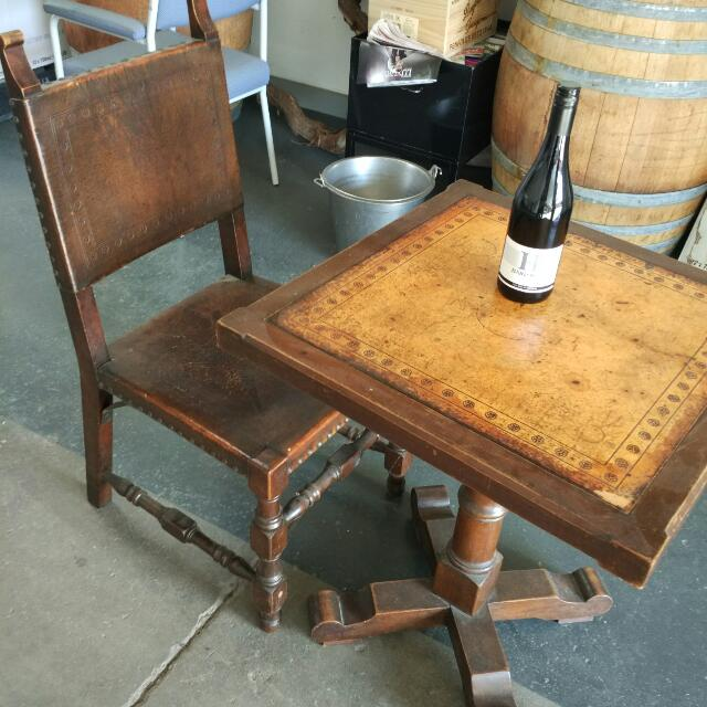 Antique Leather Top Coffee Tables and Chairs.