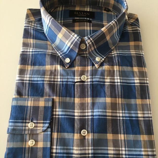Blue Purple Check Button Down Shirt