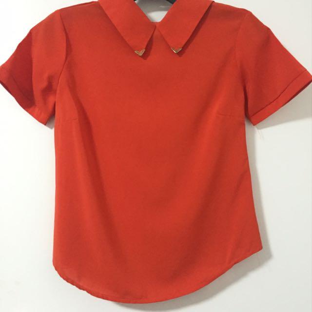 Bright Orange Formal Top