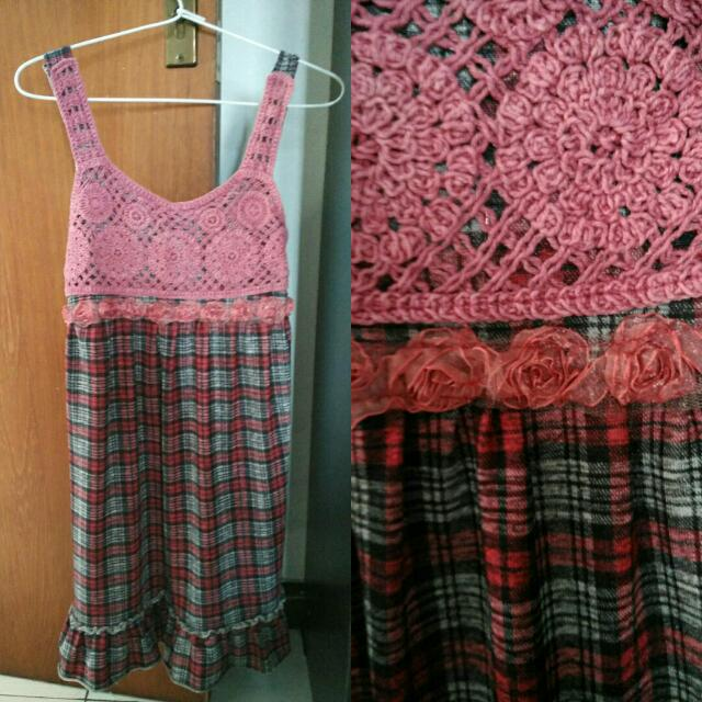 Crochet Tartan Dress