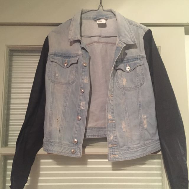 Denim Jacket With Black Sleeves