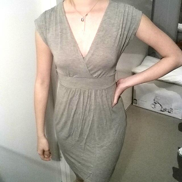 Grey Low Cut Dress