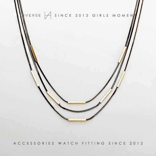 N0603-KOREA 歐美經典金屬管多層次三條鍊項鍊