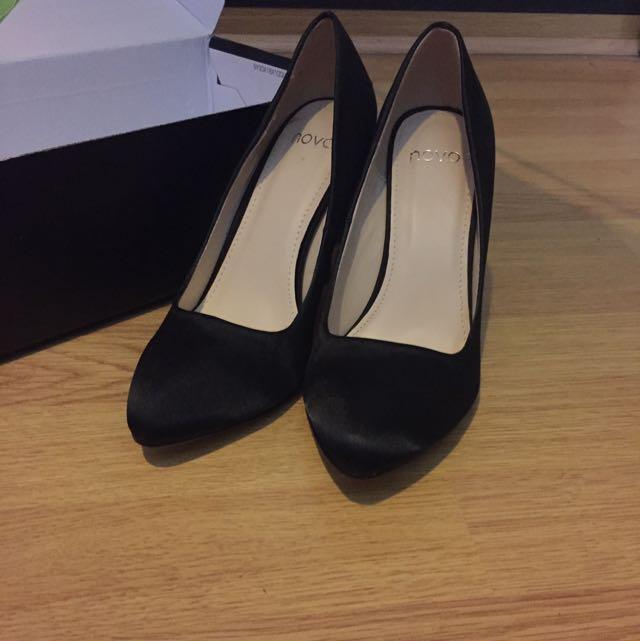 Novo Black Satin Heels Size 6