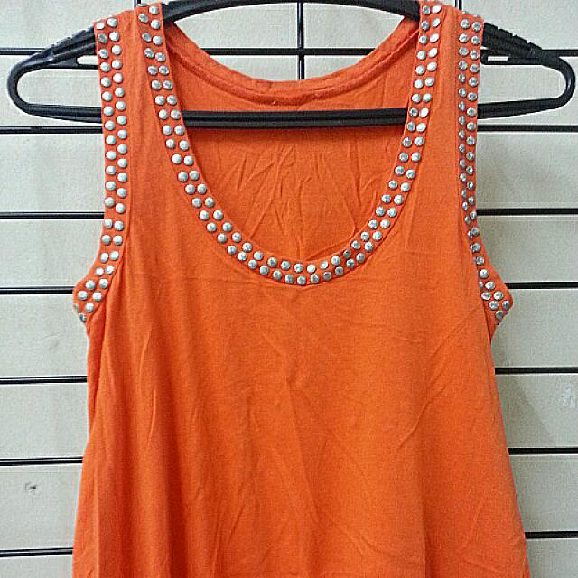 Orange Long Asymmetrical Embellished Top