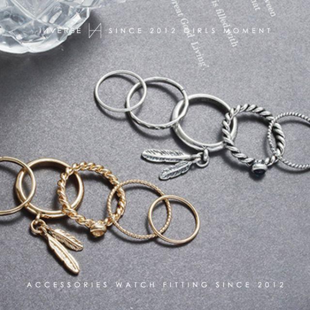 R0602-KOREA 歐美經典民族風葉片羽毛寶石素面組合戒指