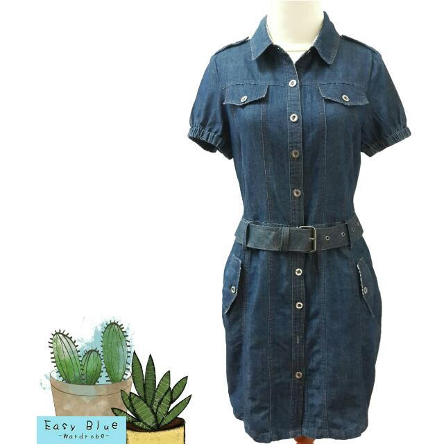 Solemio Dark Blue Denim Dress
